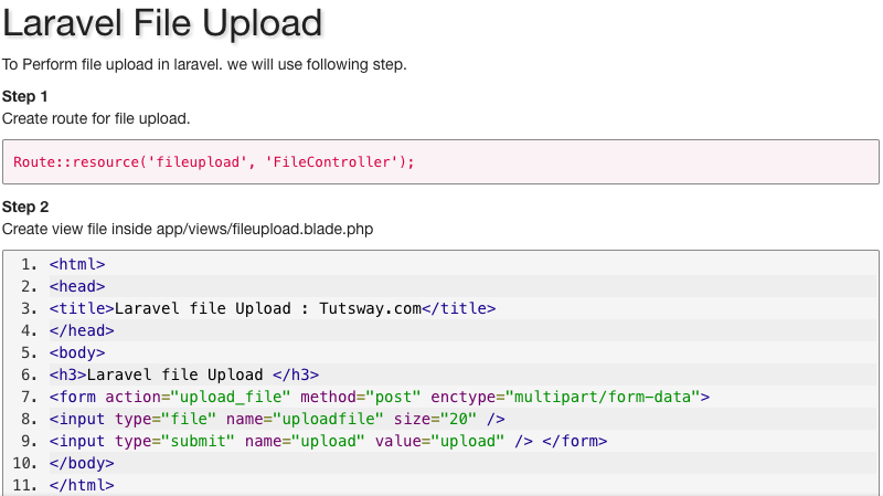 Laravel File Upload | Tutsway com